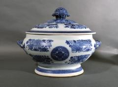 Chinese Porcelain 18th Century Chinese Export Porcelain Blue Fitzhugh Soup Tureen Cover Stand - 1614202