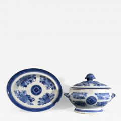 Chinese Porcelain 18th Century Chinese Export Porcelain Blue Fitzhugh Soup Tureen Cover Stand - 1618365