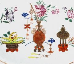 Chinese Porcelain Chinese Export Oval Porcelain Famille Rose Dish Painted With Precious Objects - 1618596