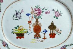 Chinese Porcelain Chinese Export Oval Porcelain Famille Rose Dish Painted With Precious Objects - 1618599