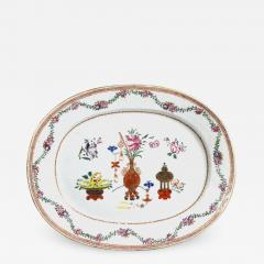 Chinese Porcelain Chinese Export Oval Porcelain Famille Rose Dish Painted With Precious Objects - 1620646