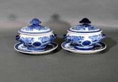 Chinese Porcelain Chinese Export Porcelain Blue Fitzhugh Sauce Tureens Covers Stands - 1618550