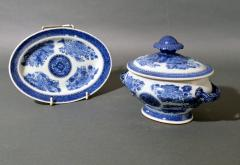 Chinese Porcelain Chinese Export Porcelain Blue Fitzhugh Sauce Tureens Covers Stands - 1618553