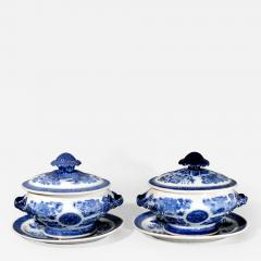Chinese Porcelain Chinese Export Porcelain Blue Fitzhugh Sauce Tureens Covers Stands - 1620644