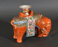 Chinese Porcelain Chinese Export Porcelain Canton Famille Rose Elephant Candlestick - 1618536