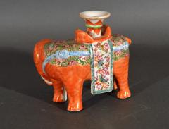 Chinese Porcelain Chinese Export Porcelain Canton Famille Rose Elephant Candlestick - 1618537