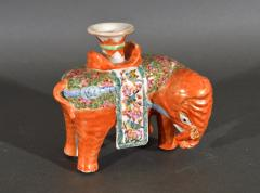 Chinese Porcelain Chinese Export Porcelain Canton Famille Rose Elephant Candlestick - 1618538