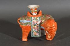 Chinese Porcelain Chinese Export Porcelain Canton Famille Rose Elephant Candlestick - 1618539