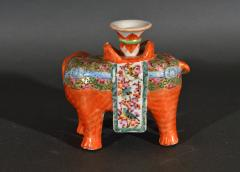 Chinese Porcelain Chinese Export Porcelain Canton Famille Rose Elephant Candlestick - 1618540