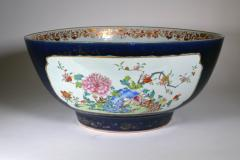 Chinese Porcelain Chinese Export Porcelain Large Bowl with Mazarine Blue Gilt Ground - 1618507
