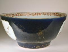 Chinese Porcelain Chinese Export Porcelain Large Bowl with Mazarine Blue Gilt Ground - 1618508