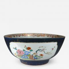 Chinese Porcelain Chinese Export Porcelain Large Bowl with Mazarine Blue Gilt Ground - 1620640