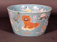 Chinese Porcelain Chinese Porcelain Turquoise Jardiniere of Bowl with Chinese Boys Pekingese Dog - 1618523
