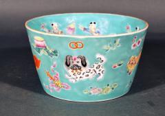 Chinese Porcelain Chinese Porcelain Turquoise Jardiniere of Bowl with Chinese Boys Pekingese Dog - 1618524