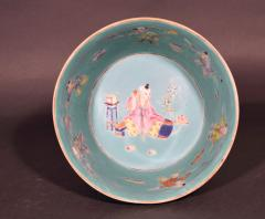 Chinese Porcelain Chinese Porcelain Turquoise Jardiniere of Bowl with Chinese Boys Pekingese Dog - 1618526