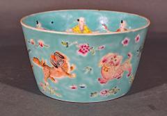 Chinese Porcelain Chinese Porcelain Turquoise Jardiniere of Bowl with Chinese Boys Pekingese Dog - 1618527