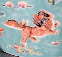 Chinese Porcelain Chinese Porcelain Turquoise Jardiniere of Bowl with Chinese Boys Pekingese Dog - 1618528