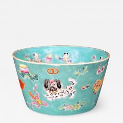 Chinese Porcelain Chinese Porcelain Turquoise Jardiniere of Bowl with Chinese Boys Pekingese Dog - 1620641