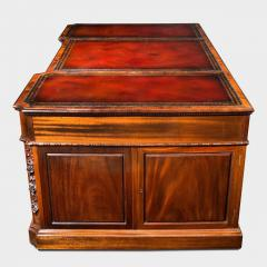 Chippendale Style Late mahogany Chippendale style pedestal desk - 1908806