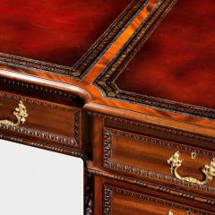 Chippendale Style Late mahogany Chippendale style pedestal desk - 1908807