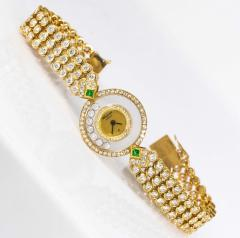 Chopard 1980 90s Chopard Happy Diamond Emerald Aprox 20Cts Diamond Bracelet Watch - 1148723