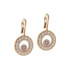 Chopard Chopard Happy Diamond Rose Gold Drop Dangle Diamond Earrings - 530427