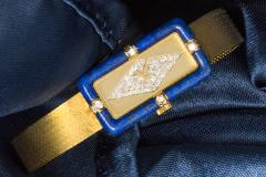 Chopard Rare Chopard Kutchinsky 1970s 18kt YG Lapis Pave Diamond Set Dial Wristwatch - 434888