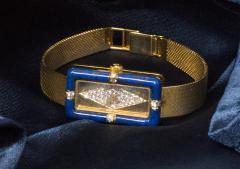 Chopard Rare Chopard Kutchinsky 1970s 18kt YG Lapis Pave Diamond Set Dial Wristwatch - 434892