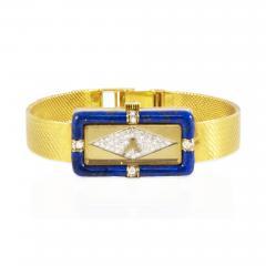 Chopard Rare Chopard Kutchinsky 1970s 18kt YG Lapis Pave Diamond Set Dial Wristwatch - 434973