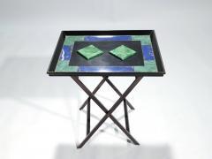 Christian Dior Christian Dior faux malachite folding tray table 1970s - 993087