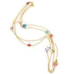 Christian Dior Dior Diorette Jardin de Milly la Foret Flower Enamel Necklace 18K Yellow Gold - 1287526