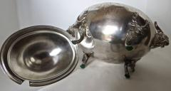 Clive Devenish Antiques Silver Plated Covered Tureen with Deer Ram Motif Circa 1885 Meriden  - 744263