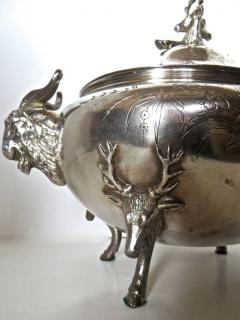 Clive Devenish Antiques Silver Plated Covered Tureen with Deer Ram Motif Circa 1885 Meriden  - 744265
