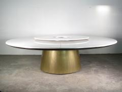 Costantini Design Custom Round Marble and Bronze Dining Table with Rotating Server from Costantini - 1825107