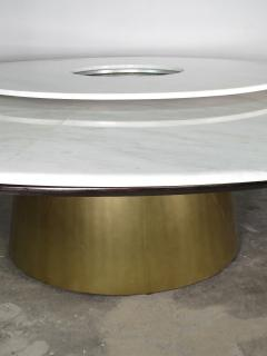 Costantini Design Custom Round Marble and Bronze Dining Table with Rotating Server from Costantini - 1825110