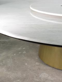 Costantini Design Custom Round Marble and Bronze Dining Table with Rotating Server from Costantini - 1825112