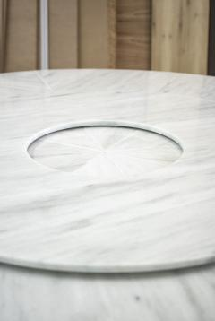 Costantini Design Custom Round Marble and Bronze Dining Table with Rotating Server from Costantini - 1825113
