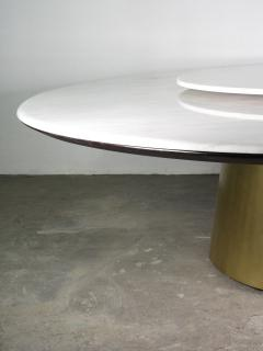 Costantini Design Custom Round Marble and Bronze Dining Table with Rotating Server from Costantini - 1825114
