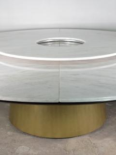 Costantini Design Custom Round Marble and Bronze Dining Table with Rotating Server from Costantini - 1825117