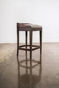 Costantini Design Exotic Wood Contemporary Sleek Counter Stool in Leather from Costantini Pia - 1944117
