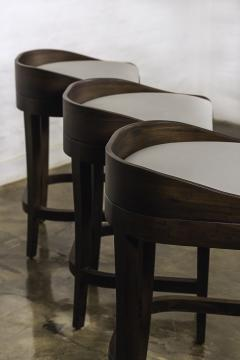 Costantini Design Exotic Wood Contemporary Sleek Counter Stool in Leather from Costantini Pia - 1944121