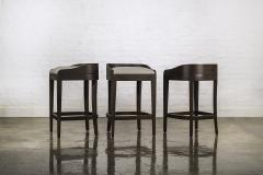 Costantini Design Exotic Wood Contemporary Sleek Counter Stool in Leather from Costantini Pia - 1944127