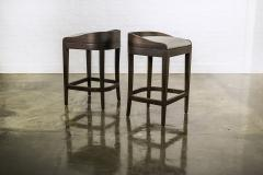 Costantini Design Exotic Wood Contemporary Sleek Counter Stool in Leather from Costantini Pia - 1944128