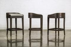 Costantini Design Exotic Wood Contemporary Sleek Counter Stool in Leather from Costantini Pia - 1944129