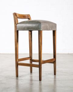 Costantini Design Exotic Wood Contemporary Stool in Leather from Costantini Umberto - 1958719
