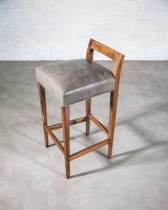 Costantini Design Exotic Wood Contemporary Stool in Leather from Costantini Umberto - 1958728
