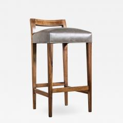 Costantini Design Exotic Wood Contemporary Stool in Leather from Costantini Umberto - 1959882