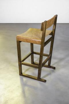 Costantini Design Exotic Wood Counter Stool w Slung Leather Seat Bronze from Costantini Piero - 1935633