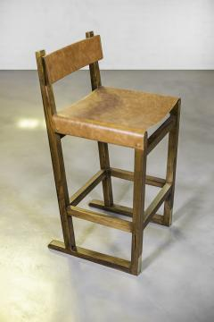 Costantini Design Exotic Wood Counter Stool w Slung Leather Seat Bronze from Costantini Piero - 1935635