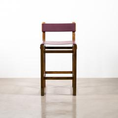 Costantini Design Exotic Wood Counter Stool with Leather Seat and Bronze from Costantini Piero - 2128222